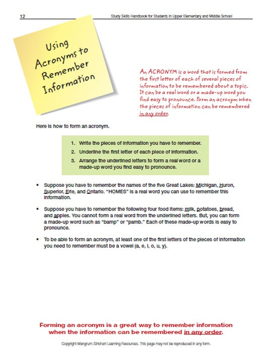 Upper Elementary/Middle School LD Study Skills Handbook - Using Acronyms to Remember Information