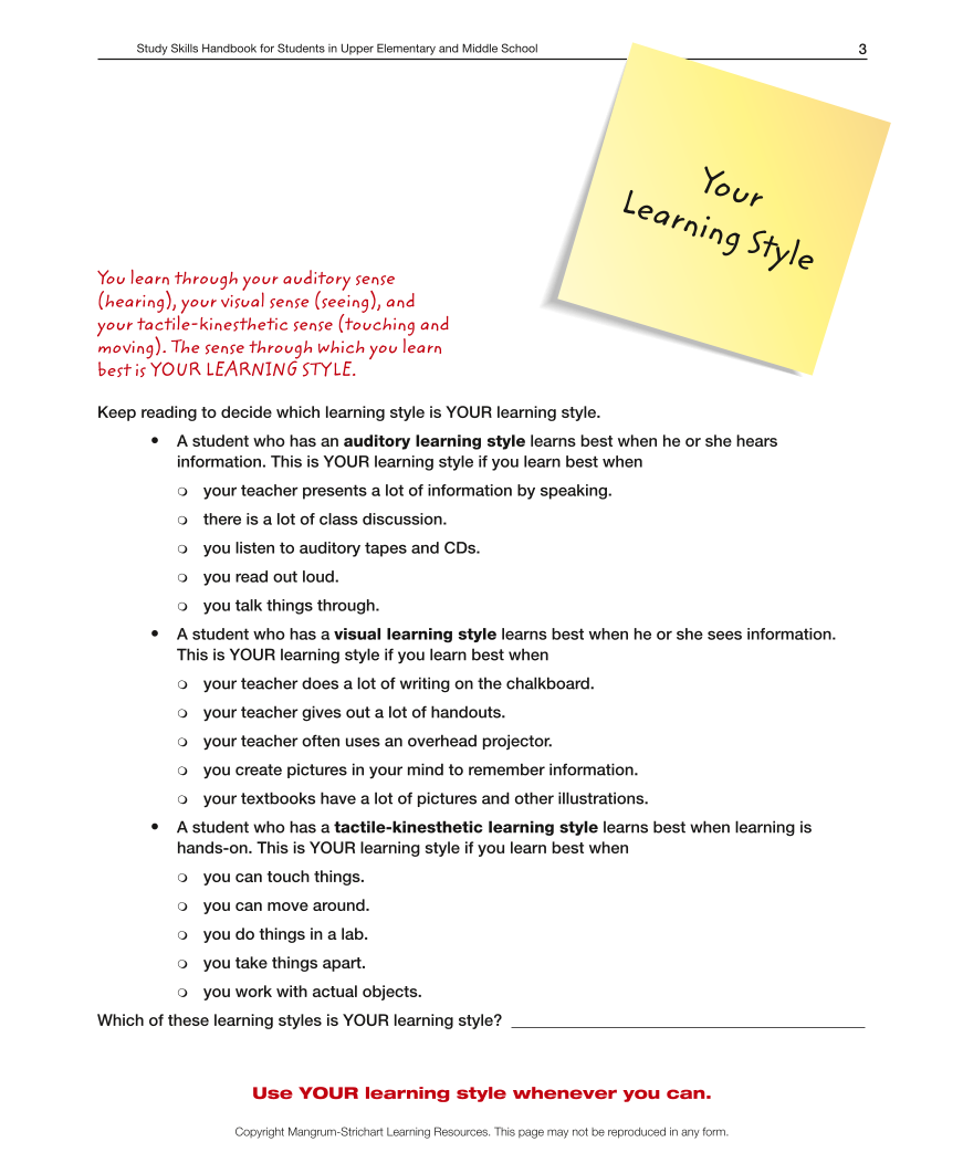Upper Elementary/Middle School LD Study Skills Handbook - Your Learning Style