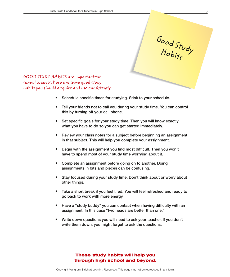 High School LD Study Skills Handbook - Good Study Habits